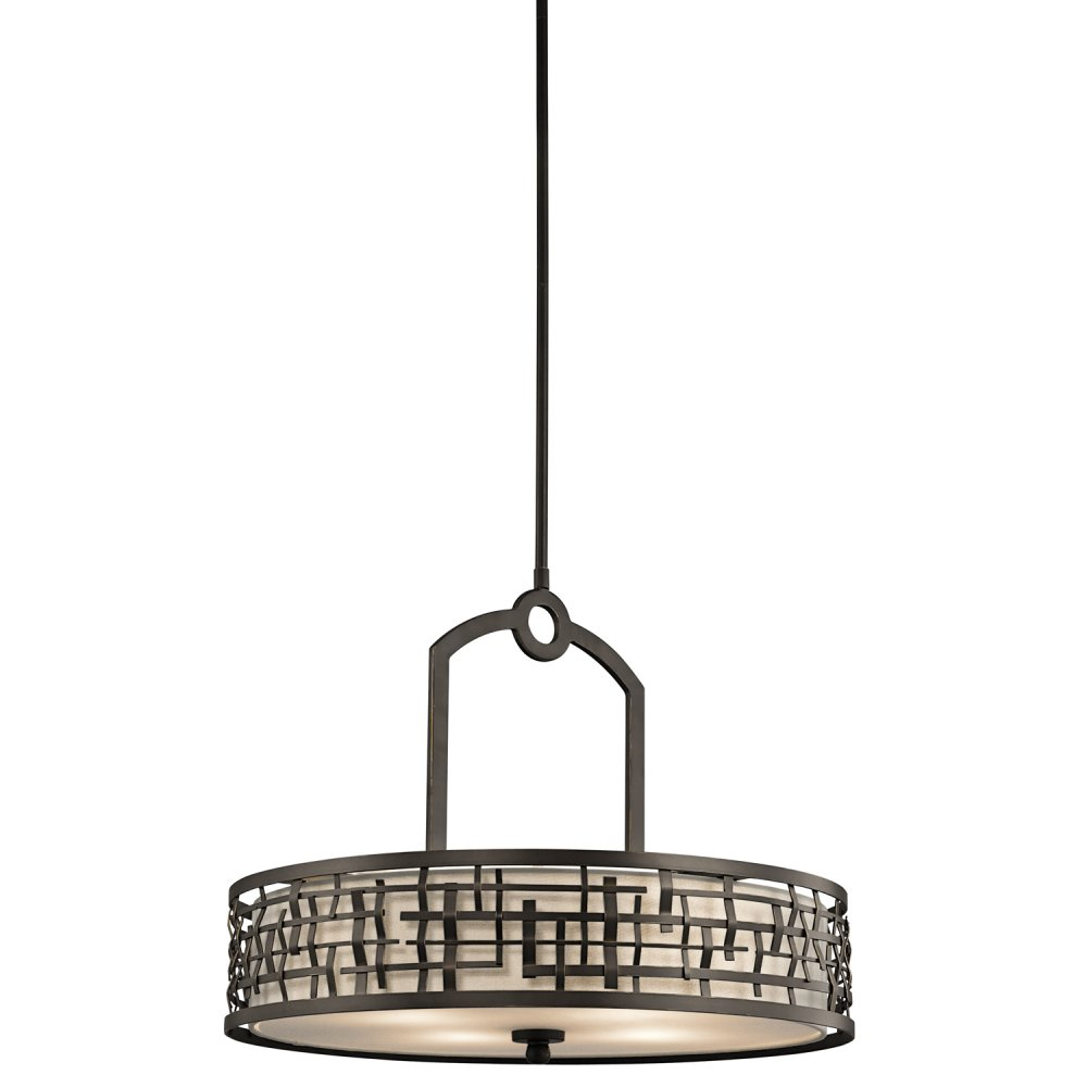 Bronze Ceiling Pendant Light, Basket Weave Frame Surrounds