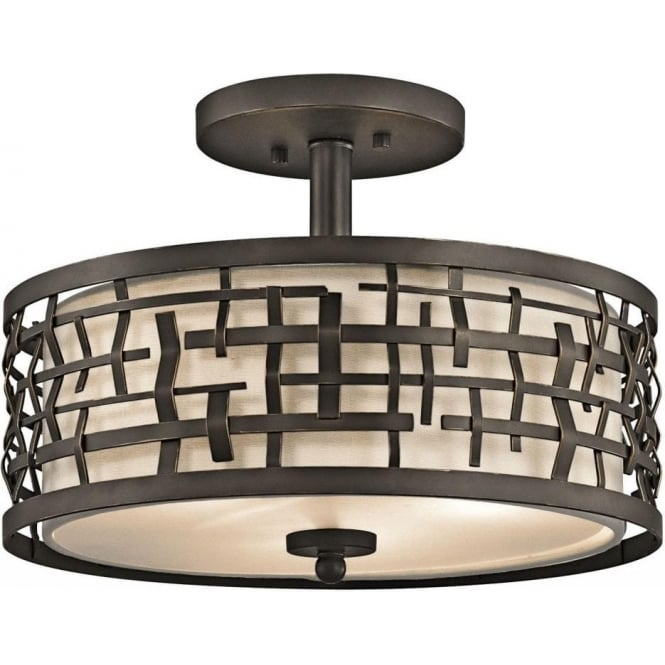 Loom dual mount art deco drum shade fits semi flush or as ceiling pendant light