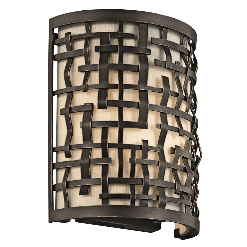 Wall Lights York: Art Deco Dark Bronze Flush Fitting Wall Light In Basket