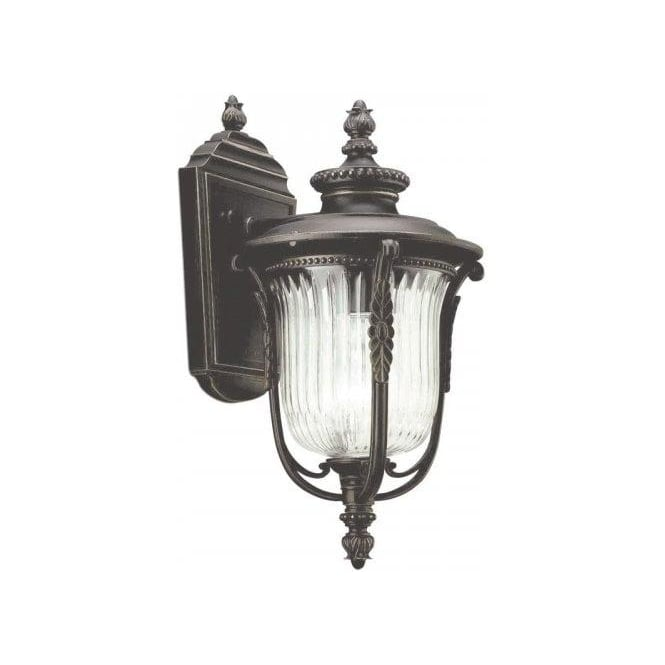 Traditional Garden Wall Lights : Traditonal Bronze Outdoor Wall Lantern with Clear Ribbed Glass