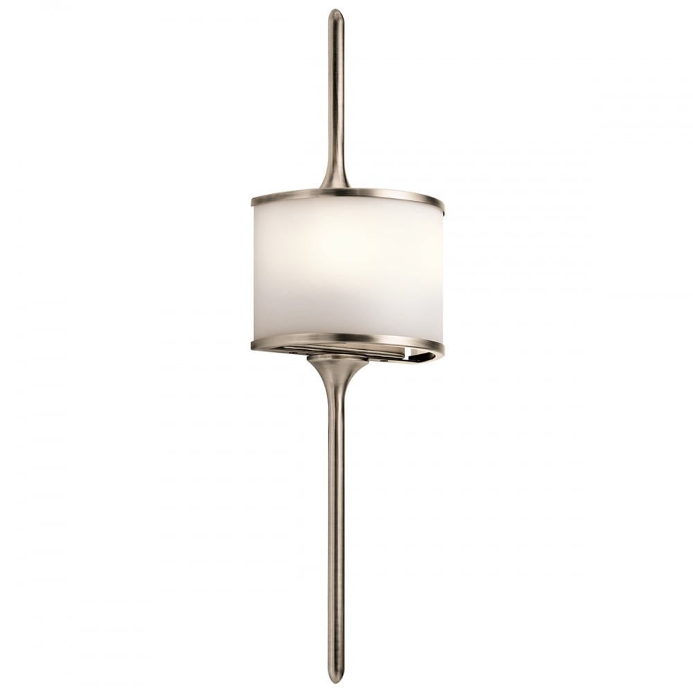 Mid Century Wall Lights Uk: Mona LED Bathroom Wall Light With Satin Glass And Pewter