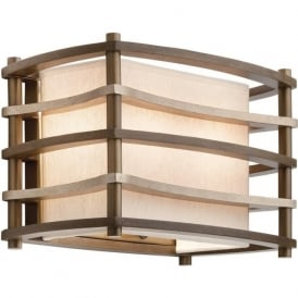 MOXIE Deco style bronze wall light with linen shade