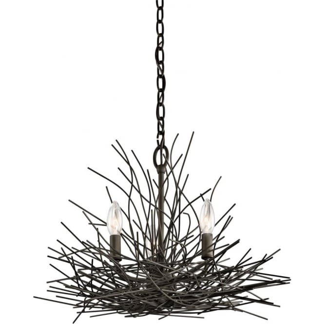Dark bronze chandelier with rustic twigs surrounding 3 candle lights organique 3 light chandelier decorated with bronze twigs mozeypictures Images