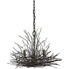 ORGANIQUE 3 light chandelier decorated with bronze twigs