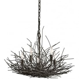 ORGANIQUE 5 light chandelier decorated with bronze twigs
