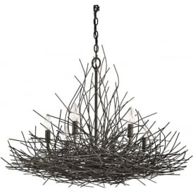 ORGANIQUE 6 light chandelier decorated with bronze twigs