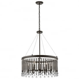 PIPER modern chandelier style pendant with glass and metal rods dressed with glass beads