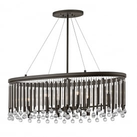 PIPER modern oval chandelier style pendant with glass and metal rods dressed with glass beads