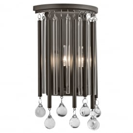 PIPER modern wall light with glass and metal rods dressed with glass beads