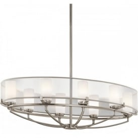 SALDANA large oval pewter chandelier with organza shade