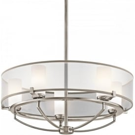 SALDANA modern pewter drum pendant ceiling light with 5 bulbs