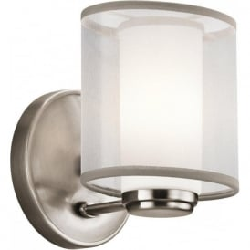 SALDANA modern pewter wall light with organza shade