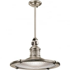 SAYRE nautical style pewter ceiling pendant with prismatic glass - extra-large