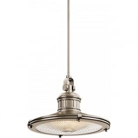 SAYRE nautical style pewter ceiling pendant with prismatic glass - large