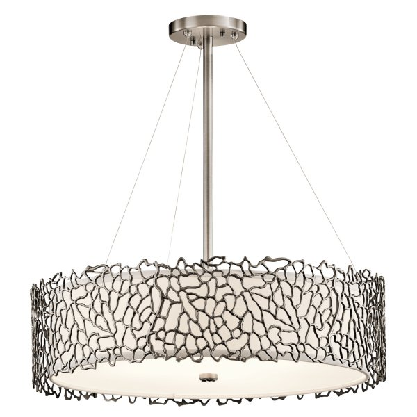 york lighting collection silver coral drum shade ceiling pendant light