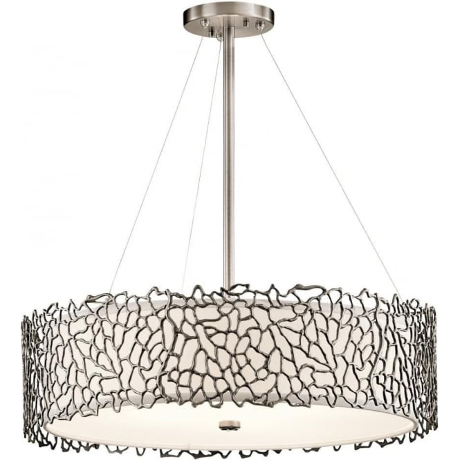 Pewter drum shade hanging ceiling pendant light delicate coral detail silver coral drum shade ceiling pendant light aloadofball Gallery