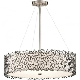 SILVER CORAL drum shade ceiling pendant light