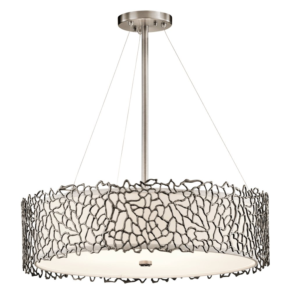Pewter Drum Shade Hanging Ceiling Pendant Light Delicate Coral Detail