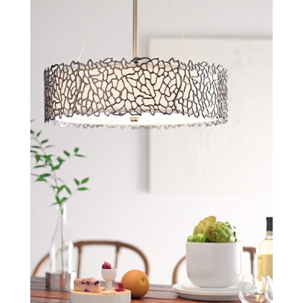 Pewter Drum Shade Hanging Ceiling Pendant Light Delicate