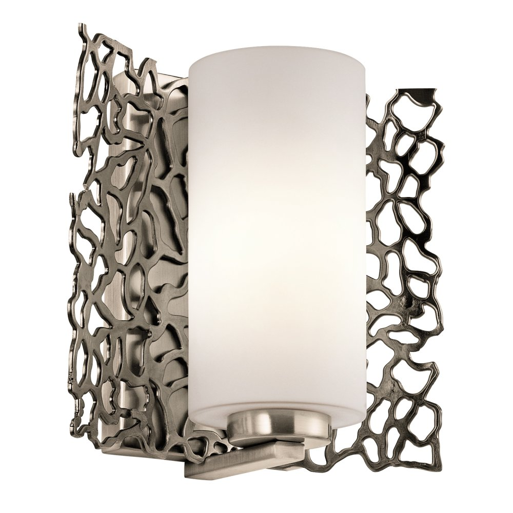Wall Lights York: Silver Coral Pewter Wall Light With Pearly White Cylinder