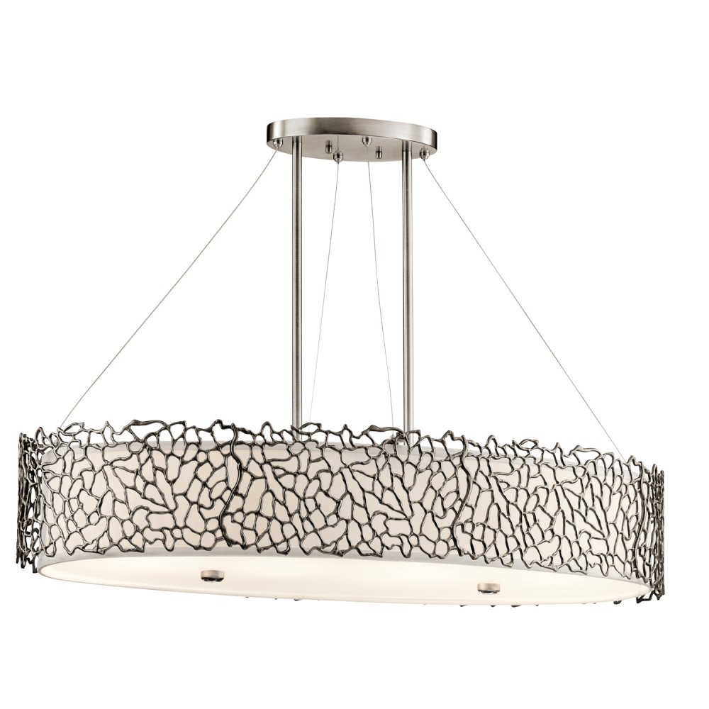 Lighting Collection SILVER CORAL oval kitchen island pendant light