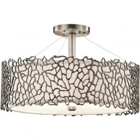 SILVER CORAL pendant or semi-flush fitting pewter ceiling light