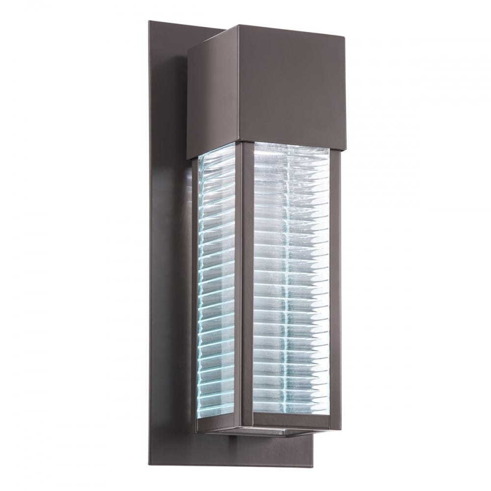 New york lighting collection sorel modern led outdoor wall light in bronze with textured glass