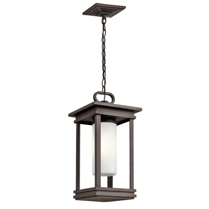 Porchlight New York: Dark Bronze Hanging Porch Lantern With Pillar Candle Style