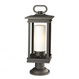 SOUTH HOPE traditional outdoor pedestal or gate post lantern in rubbed bronze