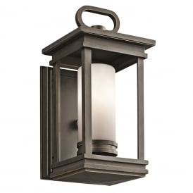 SOUTH HOPE traditional outdoor wall lantern in rubbed bronze - small