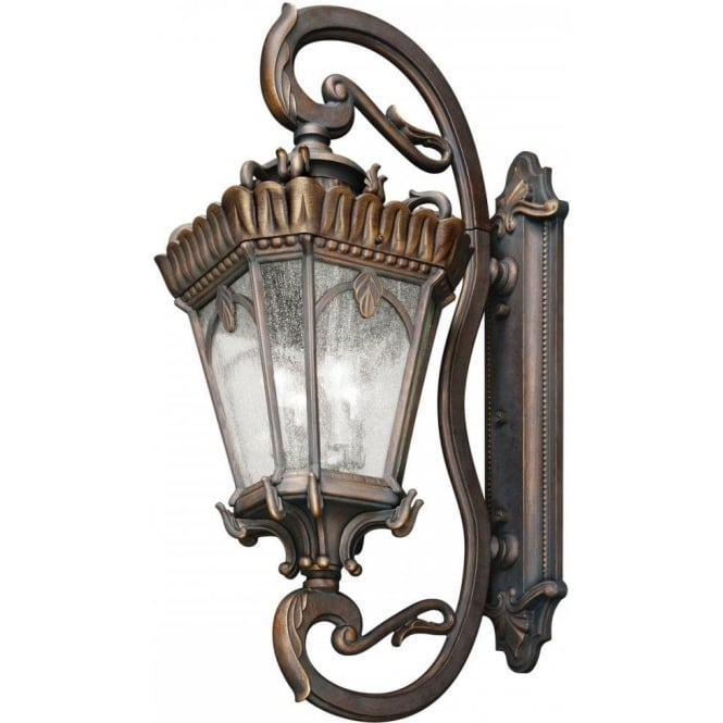 very large outdoor ip44 wall light in bronze with clear seeded glass
