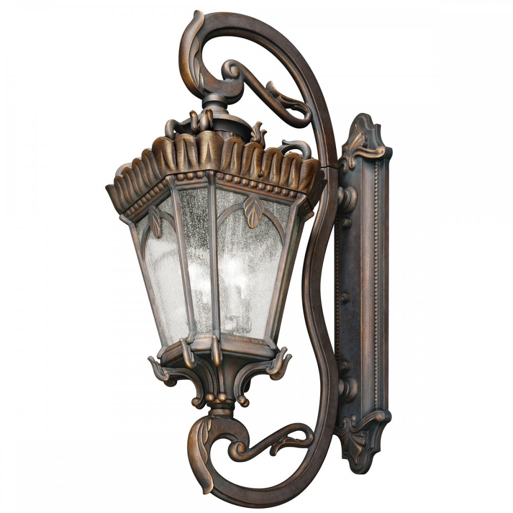Large Round Edwardian Foyer Lantern : Very large outdoor ip wall light in bronze with clear