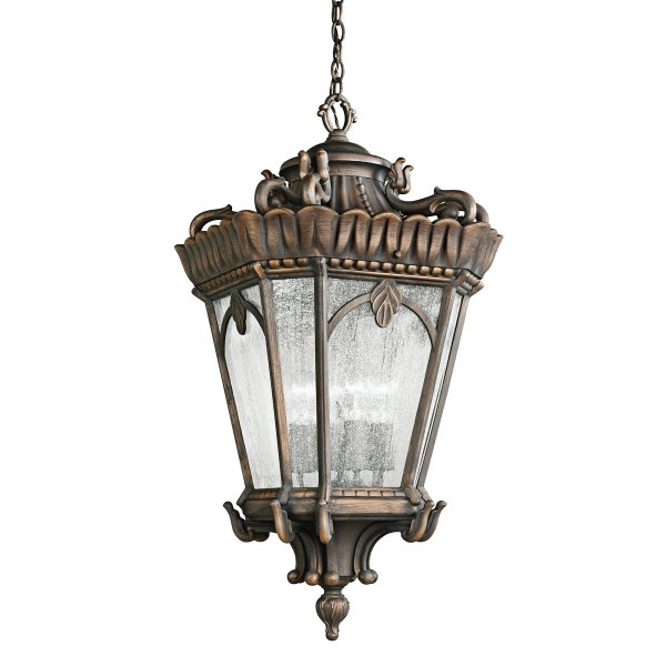 Very Large Traditional Hanging Porch Lantern In Gothic Bronze
