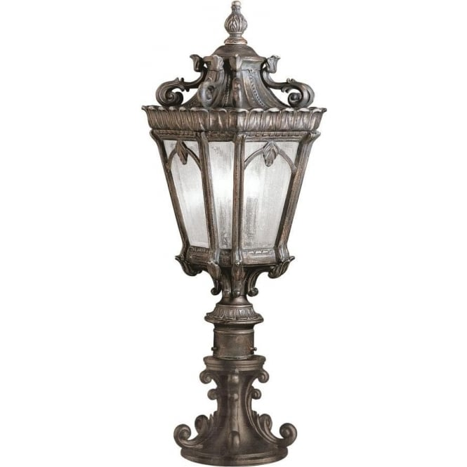 Gate post lantern or pedestal light cast aluminium with gothic detail for Victorian style exterior lighting