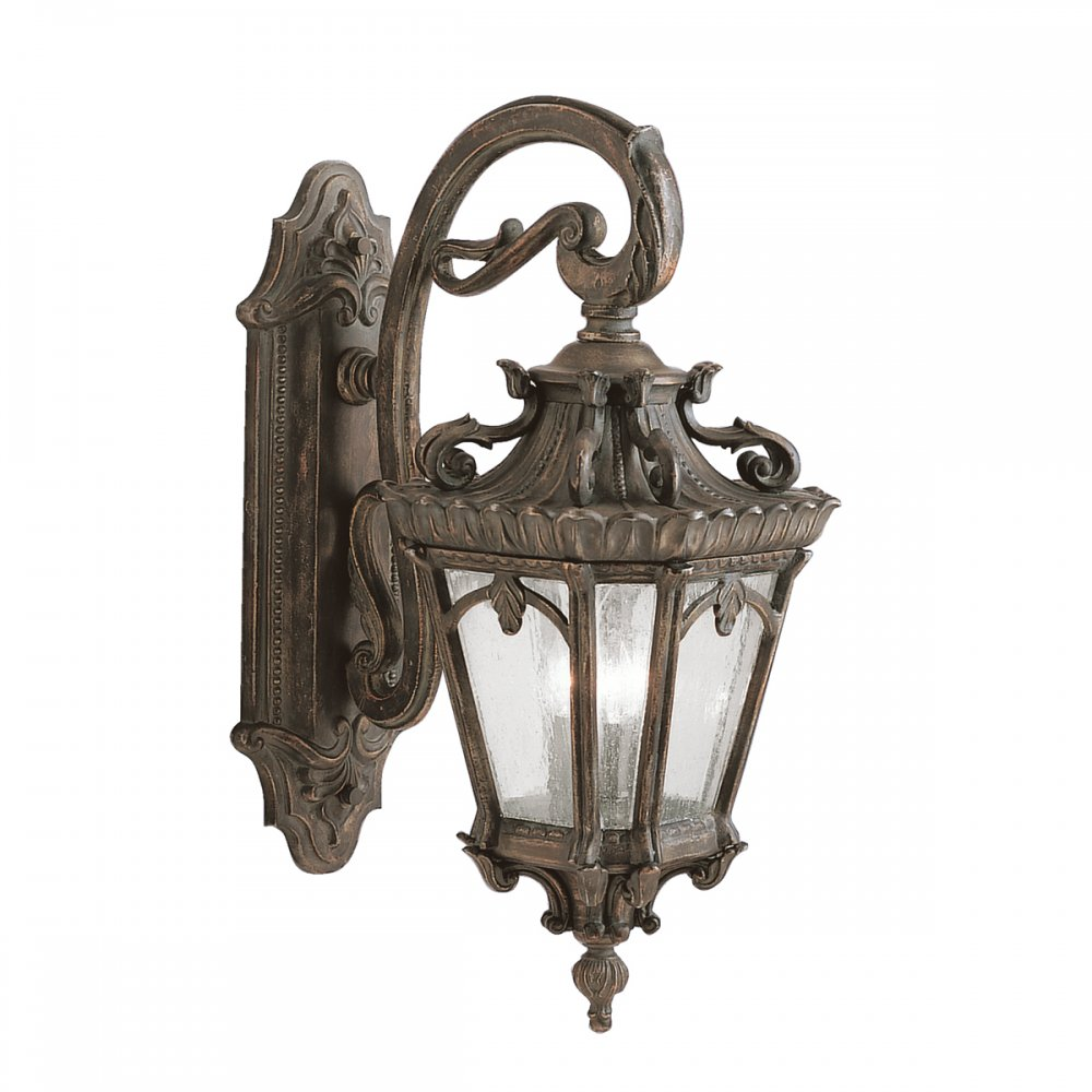 Large Outdoor Bronze Wall Lantern In Ornate Victorian