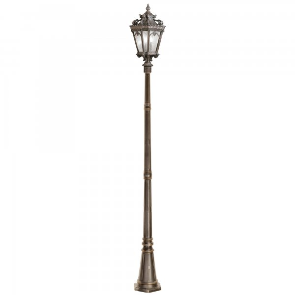 Black Victorian Style Pillar Light: Tall Gaden Lamppost In Traditional Victorian Gothic Style
