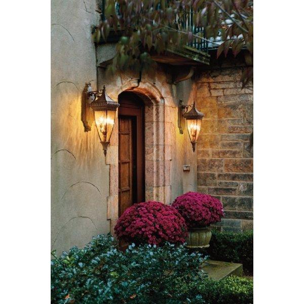 Traditional Garden Wall Lights : Venetian Rain Outdoor Wall Light in Bronze with Rain Effect Glass