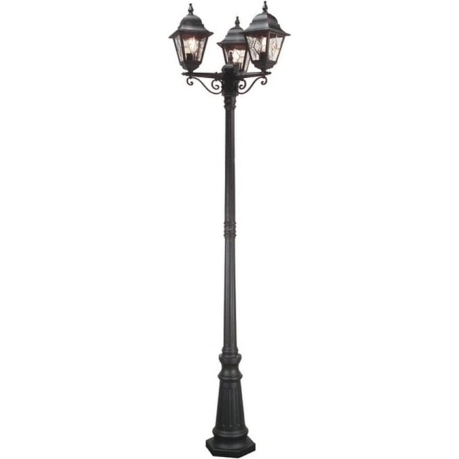 Norfolk Outdoor Black Lamp Post With 3 Lights