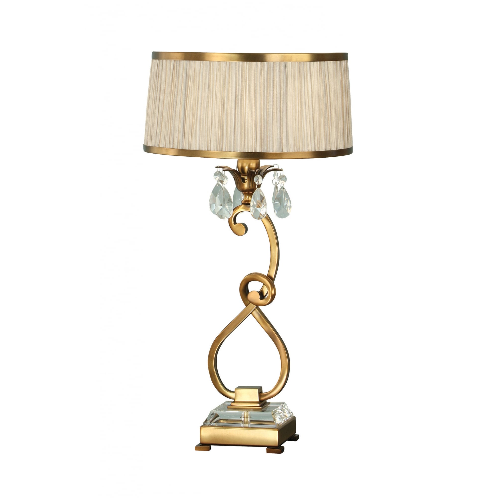 Picture of: Table Lamp In Antique Brass With Crystal Drops And Beige Shade