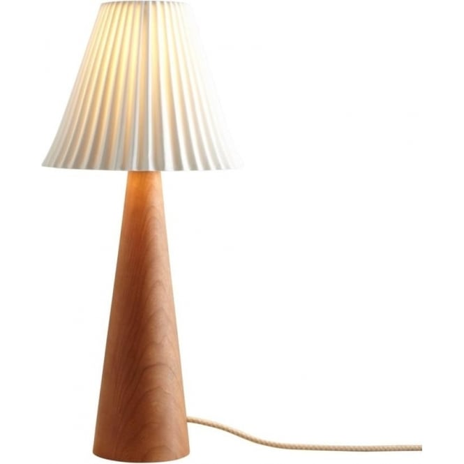 Uk made cherry wood table lamp with white pleated ceramic shade cecil cherry wood table lamp with cone shaped base and pleated ceramic china shade aloadofball Images