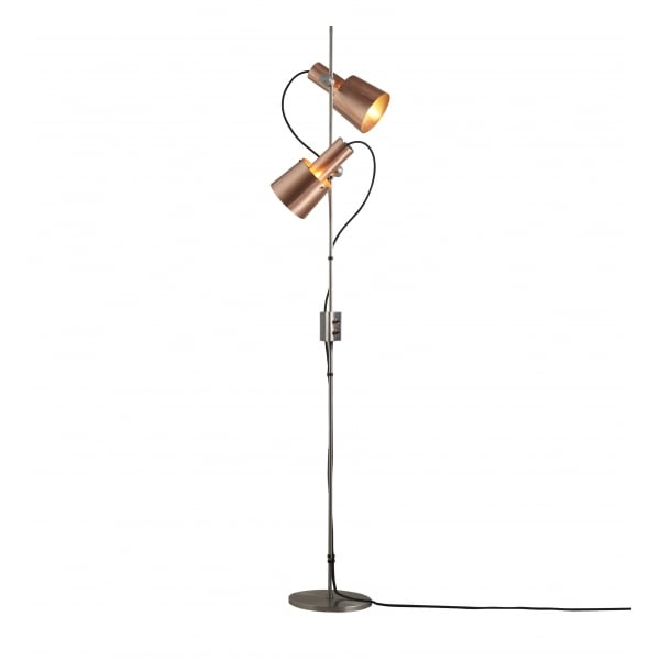 Modern Retro Floor Standing Lamp With Angled Copper
