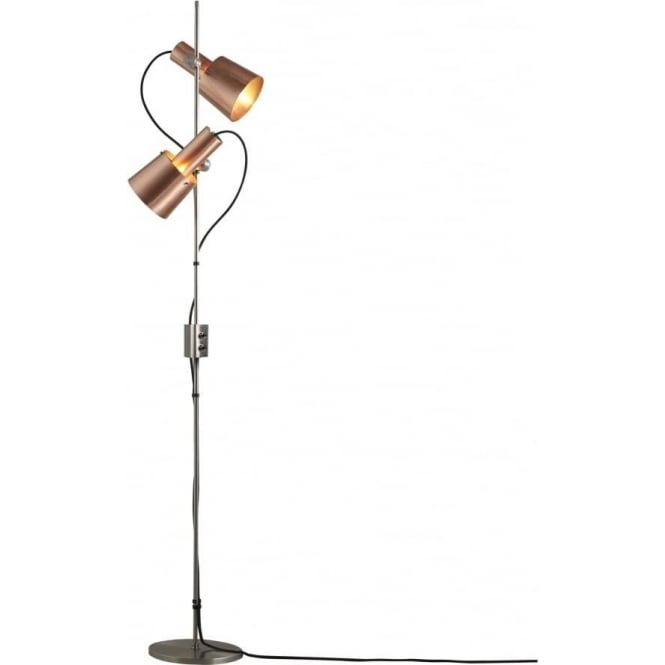 Modern Retro Floor Standing Lamp With Angled Copper Spotlight Shades