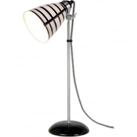 CIRCLE LINE black and white striped bone china table lamp