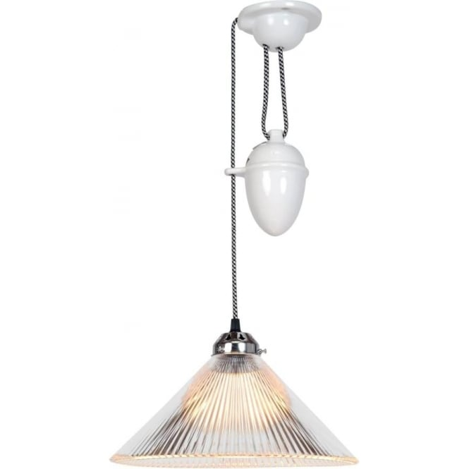 Rise and fall ceiling light with fluted white shade in white bone china coolie rise and fall ceiling pendant with clear ribbed prismatic glass shade mozeypictures Image collections
