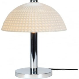 COSMO modern Art Deco table light with dimpled white bone china shade