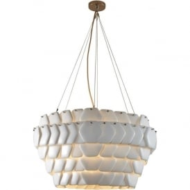 CRANTON modern hexagonal ceiling light with overlapping ceramic china discs