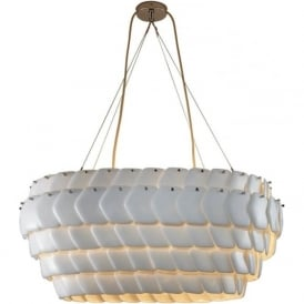 CRANTON modern oval ceiling pendant with overlapping ceramic china discs