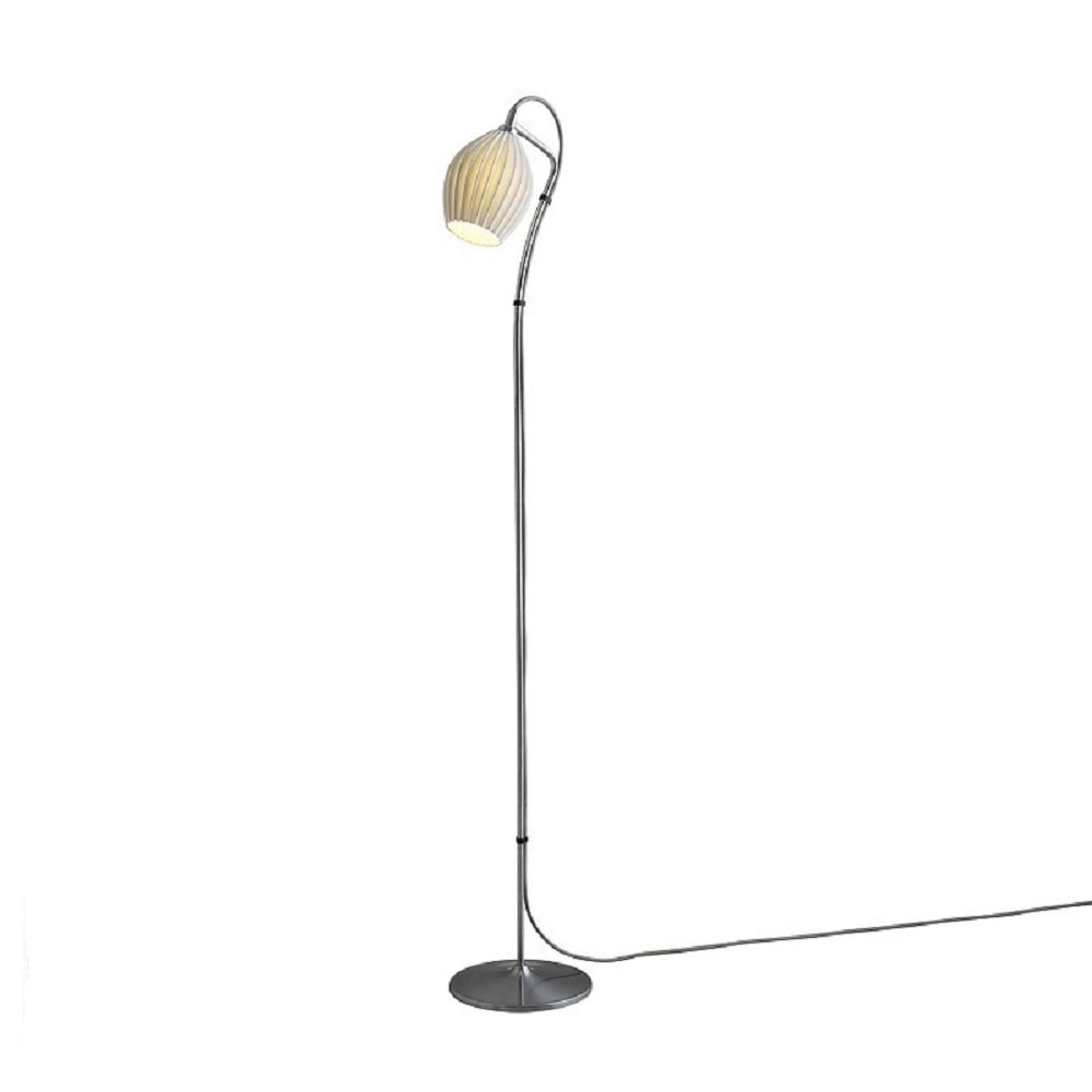 Chrome floor standing lamp natural white ceramic shade and grey cable fin modern chrome floor standing lamp with natural white bone china shade aloadofball Choice Image