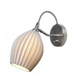 FIN modern chrome wall light with natural white bone china shade