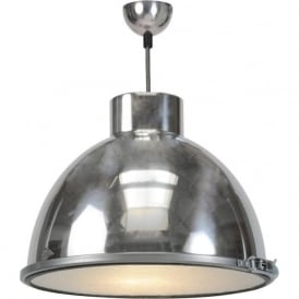 GIANT 1 aluminiium industrial ceiling pendant light with wired glass diffuser - medium